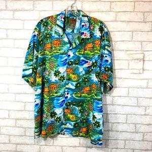 Pineapple connection tropical button down shirt XL